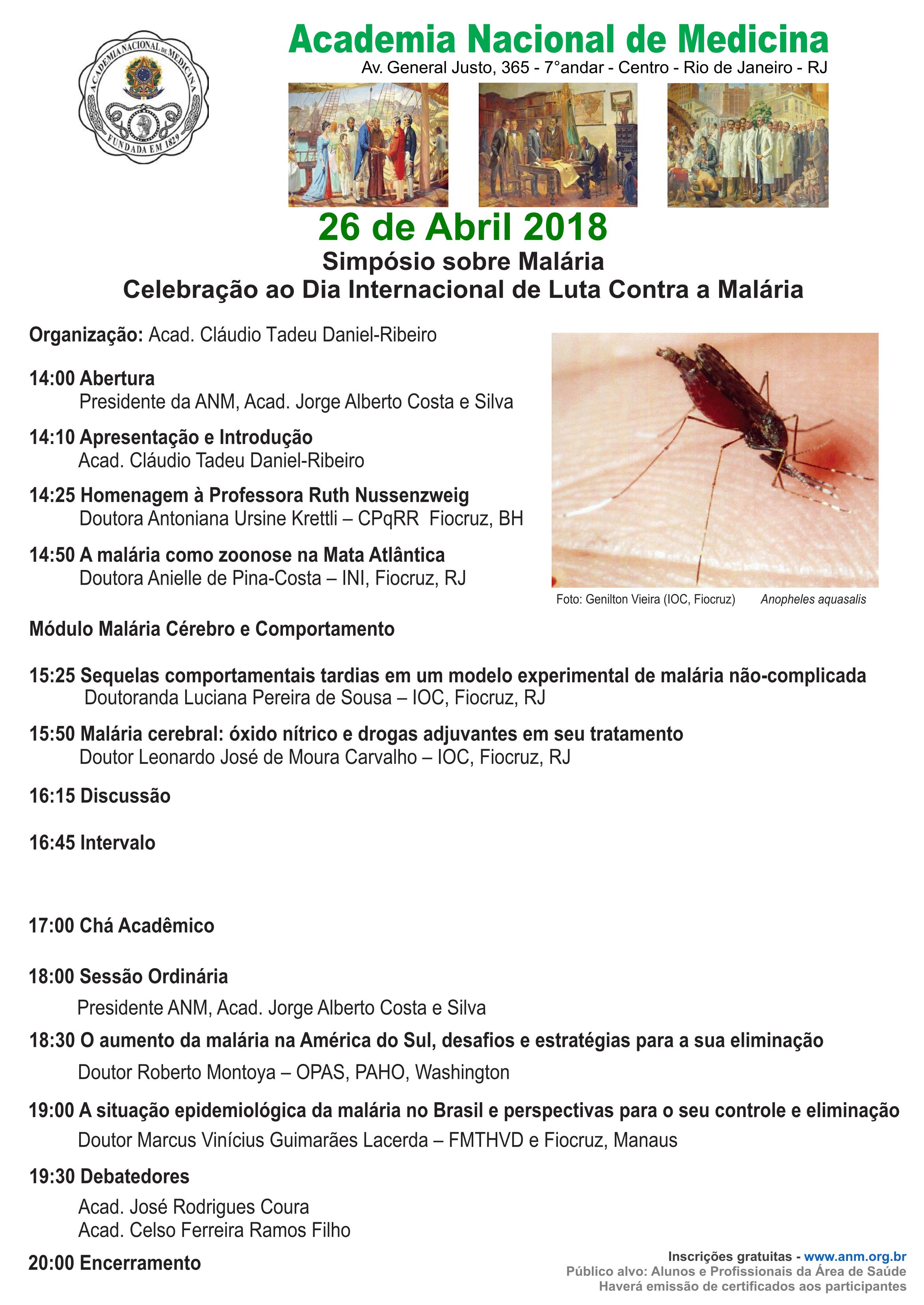 A Academia Nacional de Medicina realiza  Simpósio de Celebração ao Dia Internacional de Luta contra a Malária